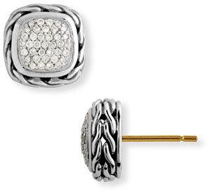 John Hardy 'Classic Chain' Small Square Pavé Diamond Earrings