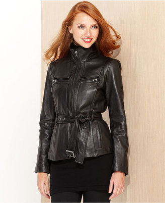 Kenneth Cole Reaction Jacket, Stand-Collar Belted Leather