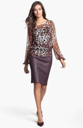 Diane von Furstenberg 'Marta' Leather Pencil Skirt
