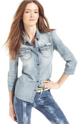 Calvin Klein Jeans Petite Shirt, Three-Quarter-Sleeve Denim