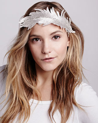 Colette Malouf Embroidered Feather Headband, Silver