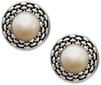 Honora Style Cultured Freshwater Pearl Braid Earrings in Sterling Silver (10-1/2mm)
