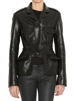 McQ Ruched Back Shiny Leather Jacket