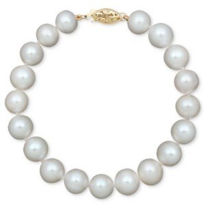 Belle de Mer Pearl Cultured Freshwater Pearl Strand Bracelet in 14k Gold (8-1/2-9-1/2mm)