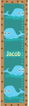 Green Leaf Art Whales Personalized Growth Chart