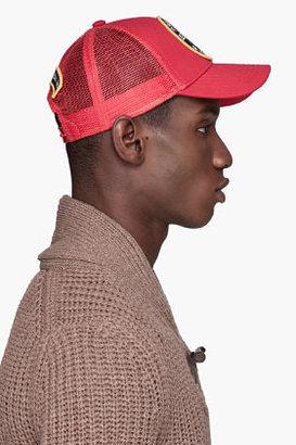 DSquared DSQUARED2 Red GABARDINE Logo Patch Trucker Hat