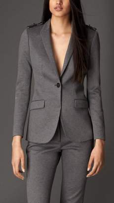 Burberry Tailored Leather Detail Jersey Jacket