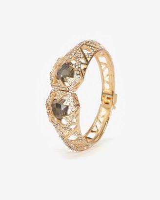 Alexis Bittar Delano Gold Medium Two Stone Deco Hinge Bracelet