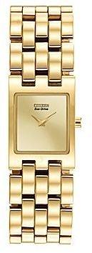 Citizen Eco-DriveTM Womens Gold-Tone Square Champagne Dial Bracelet Watch EX1302-56P