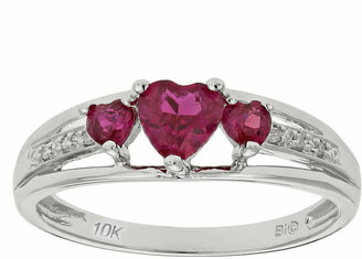 FINE JEWELRY Lab-Created Ruby & Diamond-Accent Heart-Shaped 3-Stone 10K White Gold Ring