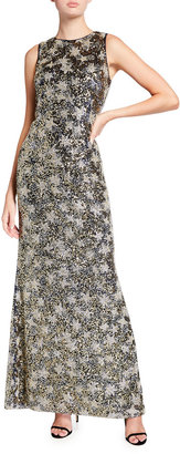 Rickie Freeman For Teri Jon Beaded Lace Jewel-Neck Sleeveless Column Gown