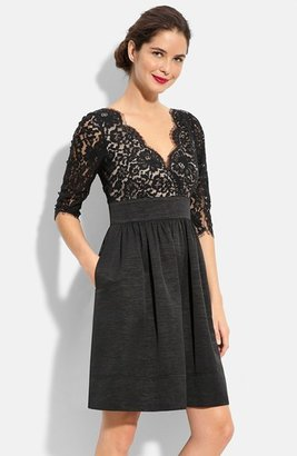 Petite Women's Eliza J Lace & Faille Dress $148 thestylecure.com