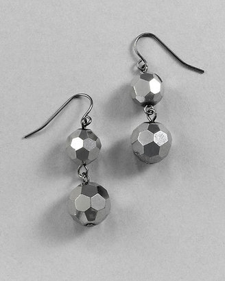 White House Hematite Faceted Double Drop Earring