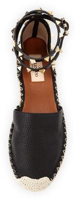 Valentino Rockstud Leather Espadrille Flat, Black
