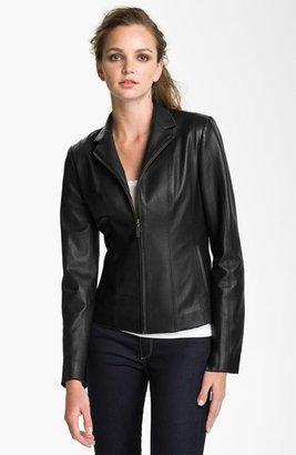 Cole Haan Notch Collar Lambskin Leather Jacket (Regular & Petite)