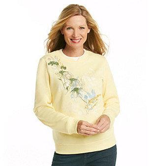 Breckenridge® Crew Neck Embellished Herbal Satchet Fleece Pullover