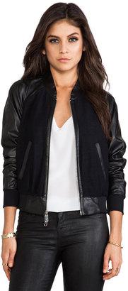 Milly RUNWAY Kiss Jacquard Leather Sleeve Bomber Jacket