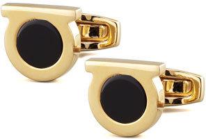 Salvatore Ferragamo Gancini Black Onyx Cuff Links, Golden