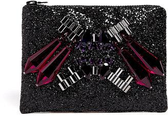 Mawi Exclusive Perspex Spikes Black Glitter Clutch