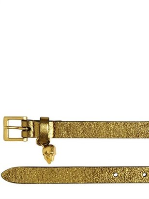 Alexander McQueen Skull Glitter Leather Wrap Belt