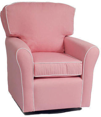Oxford The Kacy Collection Villa Pillow Back Glider - Pink with White Piping Fabric