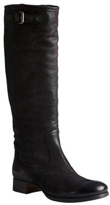Prada black antic leather knee high riding boots
