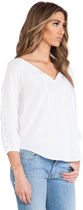 C&C California Textured Cotton 3/4 Sleeve Peasant Top With Lace Blouse