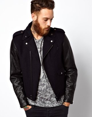 Asos Biker Jacket With Faux Leather Sleeves