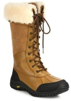 UGG Adirondack Leather, Suede & Shearling Lace-Up Boots $295 thestylecure.com