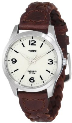 Timex Women's T2N644 Weekender Classic Casual Woven Leather Strap Watch $62.95 thestylecure.com