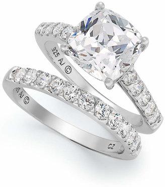 Arabella Sterling Silver Ring Set, Swarovski Zirconia Bridal Ring and Band Set (8 ct. t.w.)
