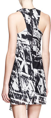 Helmut Lang Meteor Printed Gather-Neck Dress