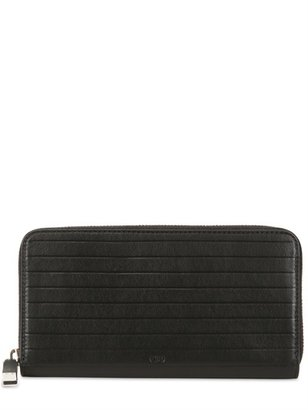 Christian Dior Pleated Soft Leather Zip Around Wallet