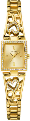 GUESS Watch, Women's Gold-Tone Crystal Accented Heart Bracelet 17mm U95081L1