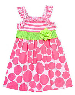 Rare Editions Girls' 2T-4T Neon Pink/Lime Dot Smocked Dress