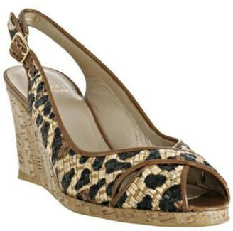Stuart Weitzman leopard printed straw 'Pipesling' wedges