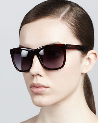 Givenchy Squared Cat-Eye Sunglasses, Burgundy