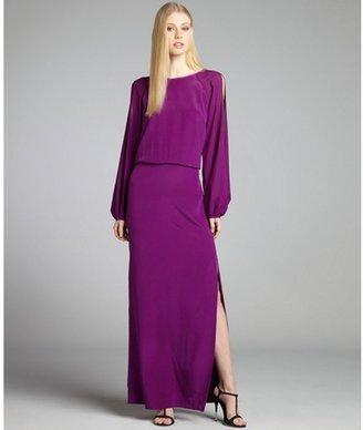 Nicole Miller byzantium purple silk cold shoulder gown