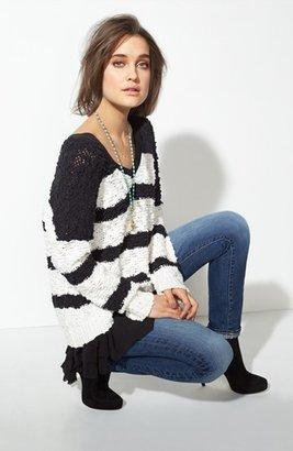 Free People 'Songbird' Stripe Pullover Black/ Ivory Large