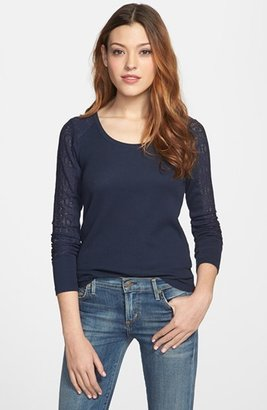 Lucky Brand 'Bobbi' Lace Inset Thermal Tee