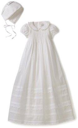 Hartstrings Baby-Girls Newborn Cotton Christening Dress And Bonnet Set