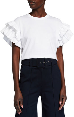 Victoria Victoria Beckham Ruffle Shirting Short-Sleeve T-Shirt
