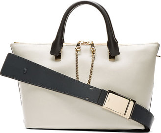 Chloé Grey & Black Leather Baylee Small Tote