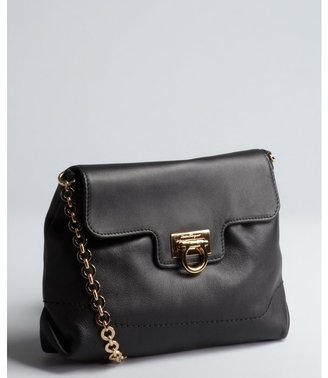 Salvatore Ferragamo black leather 'Amelie' small chain strap shoulder bag