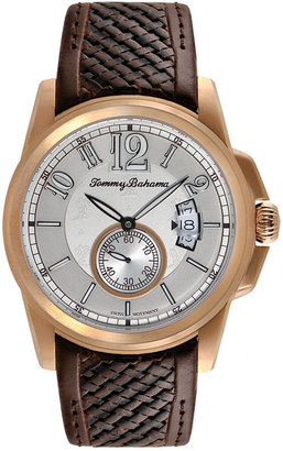 Tommy Bahama Men's Swiss Brown Woven Leather Strap Watch 44mm TB1267