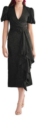 Sachin + Babi Rylee Puff-Sleeve Ruffle-Front Midi Dress