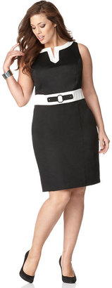 Amy Byer Plus Size Sleeveless Banded-Waist Sheath Dress