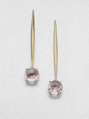 Mizuki Rose de France Amethyst & 14K Yellow Gold Earrings