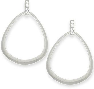 T Tahari Silver-Tone Crystal Open Teardrop Earrings
