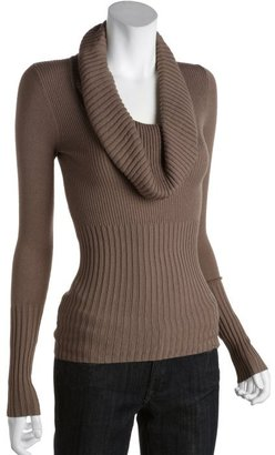 BCBGMAXAZRIA ash brown black ribbed cotton blend 'Perry' oversized cowl neck sweater